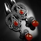 Kolczyki srebrne,kolczyki,wire-wrapping,karneol,czerwone