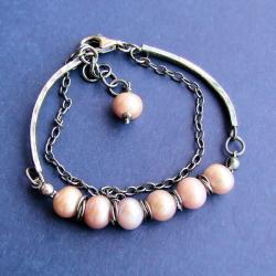 oryginalna,industrialna,z perłami - Bransoletki - Biżuteria