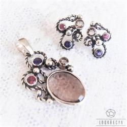 srebrny komplet,z naturalnymi kamieniami - Komplety - Biżuteria