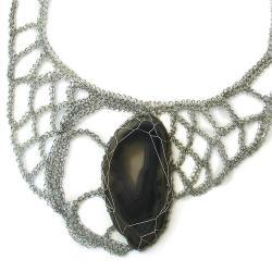 naszyjnik,agat,elegancki,asymetryszny,szydełko - Naszyjniki - Biżuteria