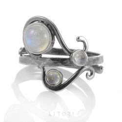 litori,handmade,pierścionek,kamień księżycowy - Pierścionki - Biżuteria