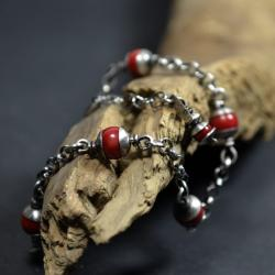 czerwona bransoleta,letnia bransoleta - Bransoletki - Biżuteria
