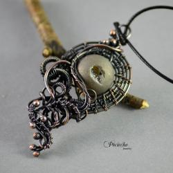 agat druza,miedź,wire wrapping,pociecha,tytanowy - Naszyjniki - Biżuteria