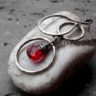 Naszyjniki długi,srebro,duży wisior,nowoczesny,czerwony