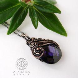 wisior z fioletową cyrkonią,wire wrapping - Wisiory - Biżuteria