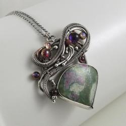 misterny wisior,zielony wisior,zoisyt,rubin - Naszyjniki - Biżuteria