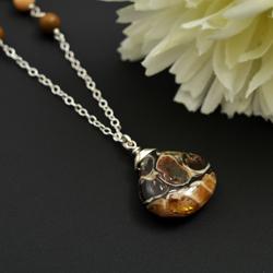agat turitella,brązowy,naszyjnik,srebro - Naszyjniki - Biżuteria