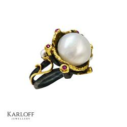 srebro,złoto,perły,szafiry,unikat - Pierścionki - Biżuteria