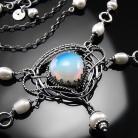 Naszyjniki srebrna,kolia,wire-wrapping,perły,opalit,ciba
