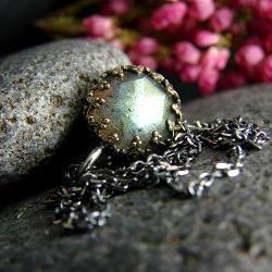 srebro,labradoryt,naszyjnik,unikat,wisior - Naszyjniki - Biżuteria