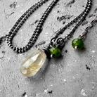 Naszyjniki srebro oksydowane,nowoczesny,wiosenny,z kamieniami