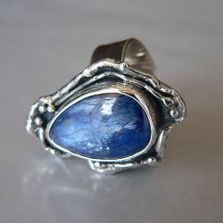 z kyanitem,rozmiar regulowany,srebro oksydowany - Pierścionki - Biżuteria