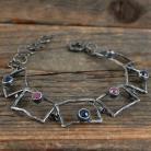 Bransoletki szafiry rubiny srebrna bransoleta