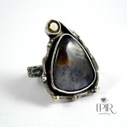 Pierścionek srebrny z jaspisem i cytrynem - Pierścionki - Biżuteria
