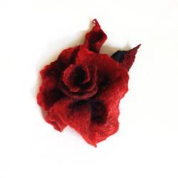 broszka,brosza,duża,kwiat,róża,bordowa,wiśniowa - Broszki - Biżuteria
