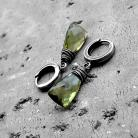 Kolczyki oliwkowe,zielone,z kwarcem,delikatne,nowoczesne