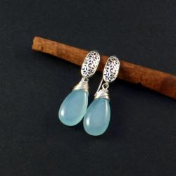 srebrne kolczyki z jadeitami - Kolczyki - Biżuteria