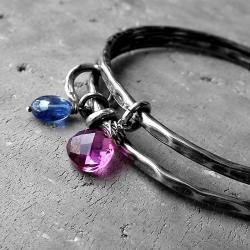 okazałe,kolorowe,z kamieniami,okrągłe,srebrne - Bransoletki - Biżuteria