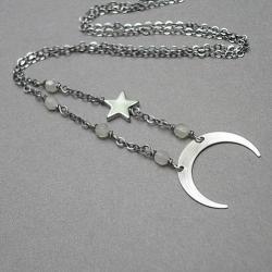 delikatny,łańcuszek,księżyc,gwiazdka - Naszyjniki - Biżuteria