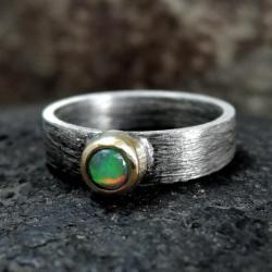 srebrny,złoty,pierścionek - Pierścionki - Biżuteria