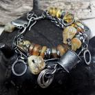 Bransoletki Srebrna bransoleta z surowymi bursztynami