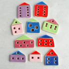 Magnesy na lodówkę domki,magnesy,kolorowe