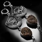 Kolczyki srebrne,kolczyki,wire-wrapping,druzy,czekoladowe