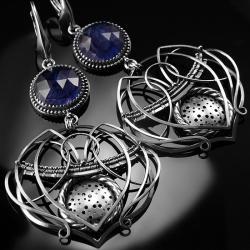 srebrne,kolczyki,wire-wrapping,iolit,granatowe - Kolczyki - Biżuteria