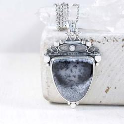 Srebrny wisior z agatem dendrytowym - Wisiory - Biżuteria
