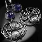 Kolczyki srebrne,kolczyki,wire-wrapping,iolit,granatowe