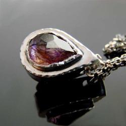 srebro,super seven,ametyst,kwarc,naszyjnik,wisior - Naszyjniki - Biżuteria