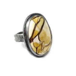 jaspis,srebrny,okazały,srebro,szarości,złocisty - Pierścionki - Biżuteria