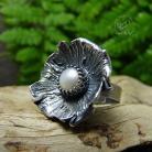 Pierścionki srebrny,romantyczny,perłowy,okazały,boho