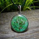 Wisiory srebrny,okrągły,zielony,żywica,radeckaart