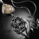 Naszyjniki srebrny,naszyjnik,wire-wrapping,agat,botswana,ciba