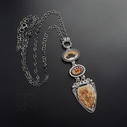 srebrny,wisior,z bursztynem,basniowy - Wisiory - Biżuteria