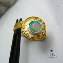 Pierścionek srebrny z opalem - Pierścionki - Biżuteria
