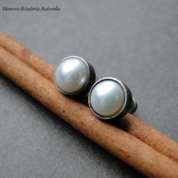 srebro,perły,hodowlane,surowe - Kolczyki - Biżuteria