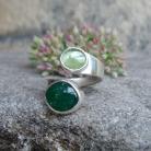 Pierścionki zielona wstęga,ruban,awenturyn
