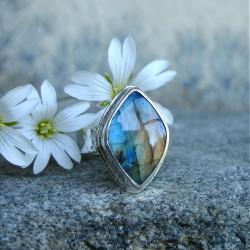 kolorowy labradoryt,pierścionek - Pierścionki - Biżuteria