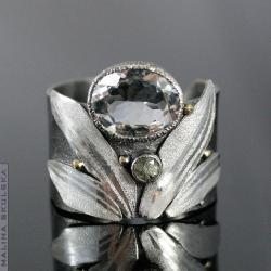 obrączka,ozdobiona,kwarc,szafir,efektowna,bajkowa - Pierścionki - Biżuteria