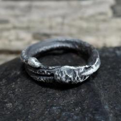 srebrny surowy pierścionek - Pierścionki - Biżuteria