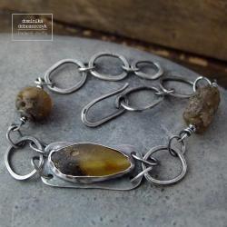 srebro,bursztyn,surowa,metaloplastyka,łańcuch - Bransoletki - Biżuteria
