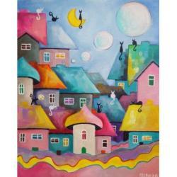 miasteczko,koty,domki - Obrazy - Wyposażenie wnętrz