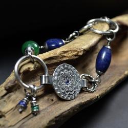 brasoleta z mandalą,srbrna mandala - Bransoletki - Biżuteria