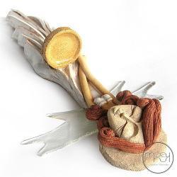 święta,świecznik,płaskorzeźba,aniołek - Ceramika i szkło - Wyposażenie wnętrz