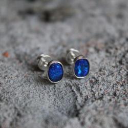 opale srebro 925 niebieski delikatne skromne małe - Kolczyki - Biżuteria