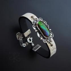 bransoletka,skórzana,z ammolitem,srebrna - Bransoletki - Biżuteria