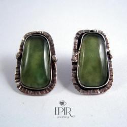 Kolczyki srebrne z serrpentynitami - Kolczyki - Biżuteria
