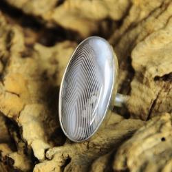 pierścionek srebro,agat,paski - Pierścionki - Biżuteria